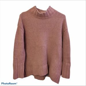 Philosophy Mock Neck Chenille Sweater Pink Mauve